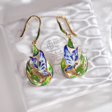 Online Earrings - Asian Gift -Butterfly - Cloisonne Silver Earrings| LIGHT STONE
