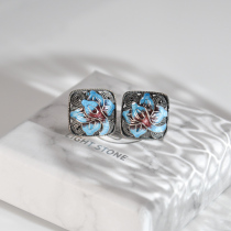 Lotus - Burning Blue Cloisonné  Silver Ear Stud