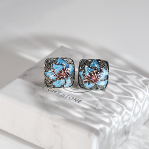Lotus - Burning Blue Cloisonné  Silver Ear Stud