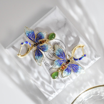 Blue Butterfly of Forbidden City - Burning Blue/Cloisonne Silver Earrings