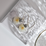 Online Earrings - Bee and Plum Flower Chinese Jade Silver Earrings | LIGHT STONE