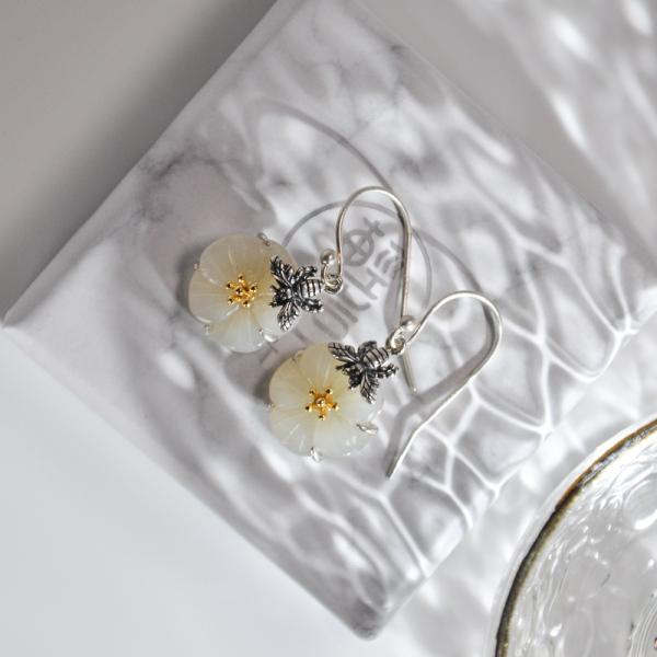 Bee and Plum Flower - Jade Silver Earrings