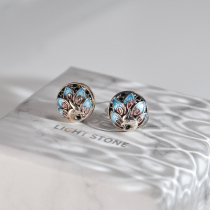 Peacock -Burning Blue Cloisonné Silver Ear Stud