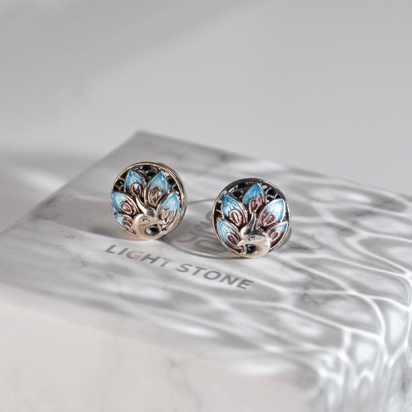 Peacock -Burning Blue Cloisonné Silver Ear Stud
