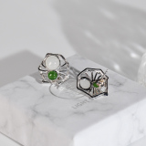 Online Earrings - Spider - Chinese Jade Silver Ear Stud| LIGHT STONE