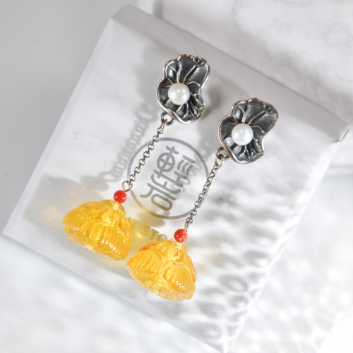 Lotus Root - Amber Silver Earrings
