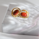 Online Earrings - Vintage Red Agate Silver Earrings| LIGHT STONE
