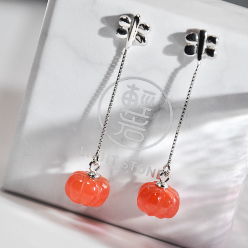 Pumpkin Joy -Red Agate Silver Earrings