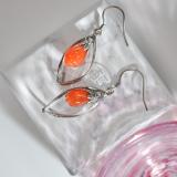 Online Earrings -Vintage Magnolia Flower - Chinese Silver Agate Earrings| LIGHT STONE