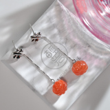Online Earrings - Pumpkin - Chinese Red Agate Silver Earrings| LIGHT STONE