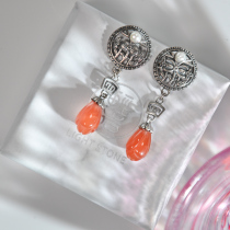 Mulan -Fish Flower - Red Agate Silver Earrings