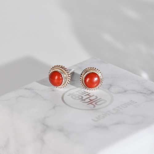 Wheat - Red Coral Handmade Tibetan Silver Ear Stud
