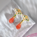 Online Earrings -Magnolia - Chinese Red Agate Silver Earrings| LIGHT STONE