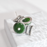 Online Earrings -Lucky Coin- Chinese Jade Silver Ear Stud| LIGHT STONE