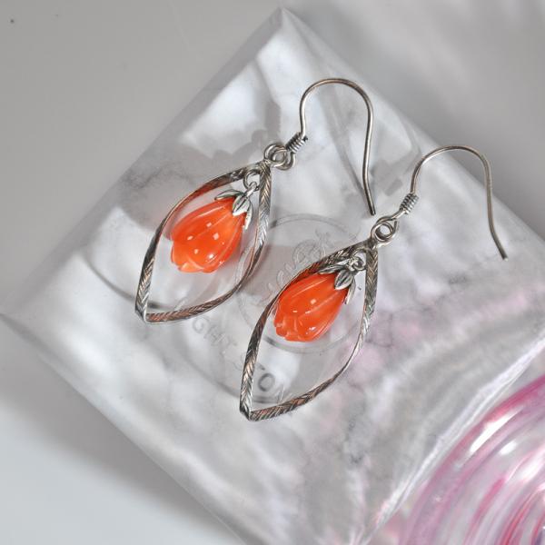 Mulan-Vintage Magnolia Flower - Silver Agate Earrings