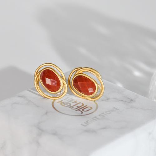 Circle - Vintage Red Agate Silver Earrings