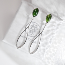 Leaf - Green Hetian Jade Silver Earrings