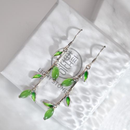 Bamboo Dream - Green Jade Enamel Silver Earrings
