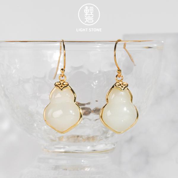 Lucky HULU-Jade Silver Earrings