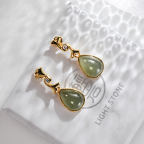 Green Drop -  Jade Silver Earrings