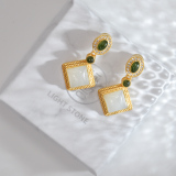 Chinese Handmade Jewelry-  Online Shop - Modern Jade Silver Earrings | LIGHT STONE