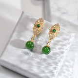 Chinese Artisan  Jewelry- Royal Green - Jade Silver Earrings| LIGHT STONE