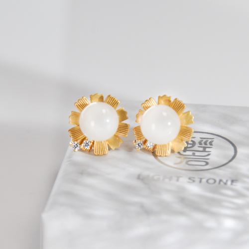 Round Flower - Jade Silver Ear Stud