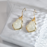 Chinese Artisan Jewelry -Lucky HULU-Jade Silver Earrings| LIGHT STONE