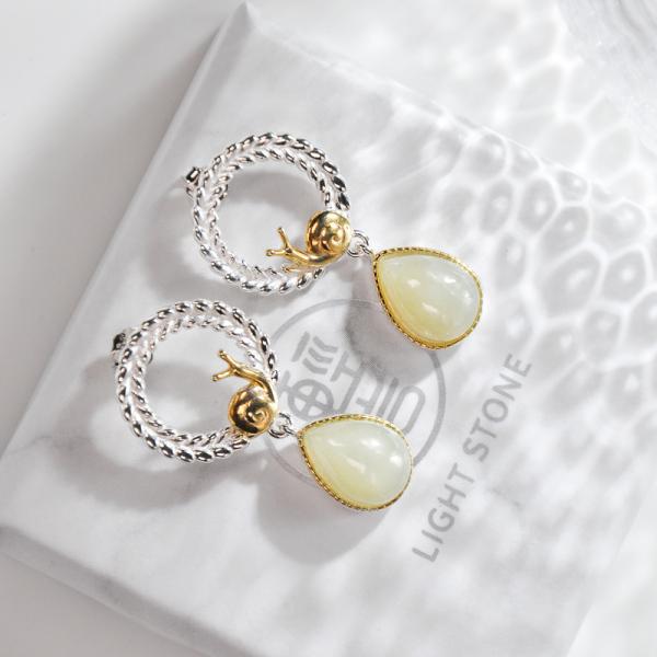 Snail - Hetian Jade Silver Earrings