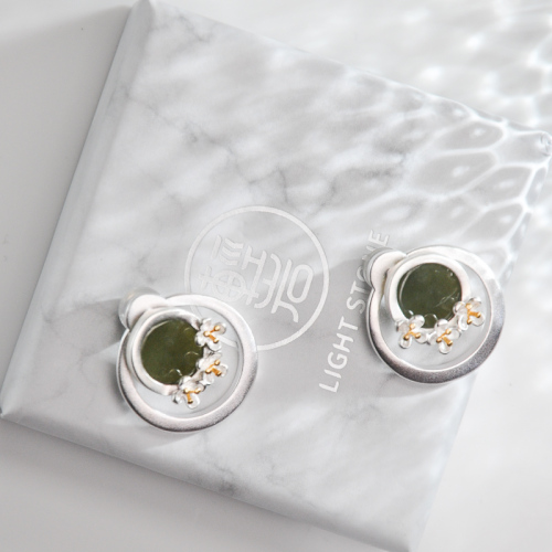Osmanthus Fragrans - Jade Silver Earrings