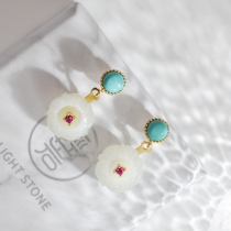 Plum Flower - Turquoise & Jade Silver Earrings
