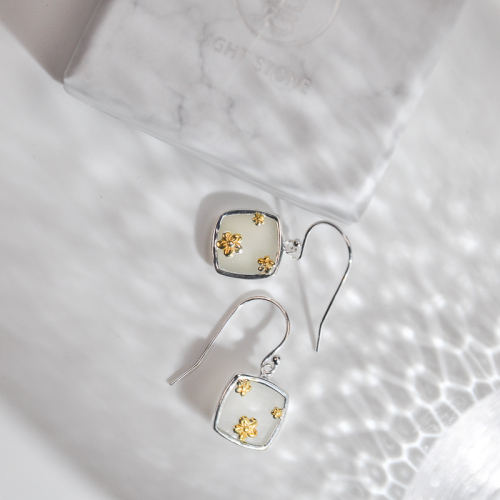 White Jade Gilt Plum Flower Silver Earrings