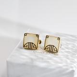 Best Online Earrings- Asian Gift - Window Shape Chinese Jade Silver Earrings| LIGHT STONE