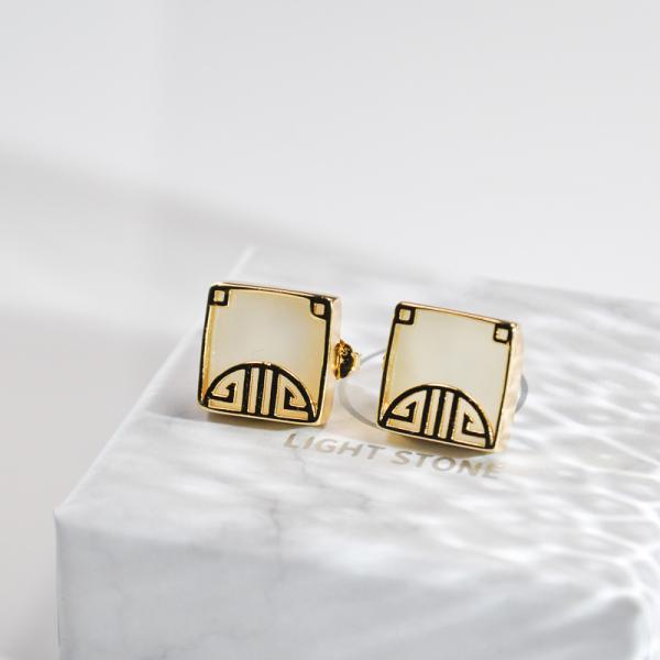 Fortune Window - Jade Silver Earrings