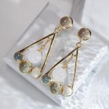 Best Online Earrings -Modern Unique Design- Chinese Hetian Jade Silver Earrings| LIGHT STONE