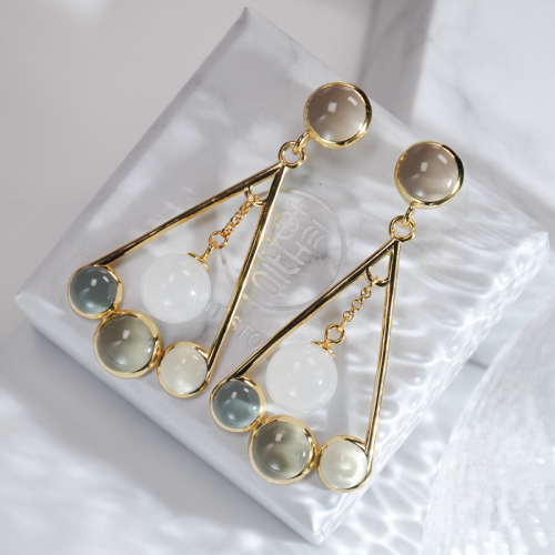 Fan - Hetian Jade Silver Earrings