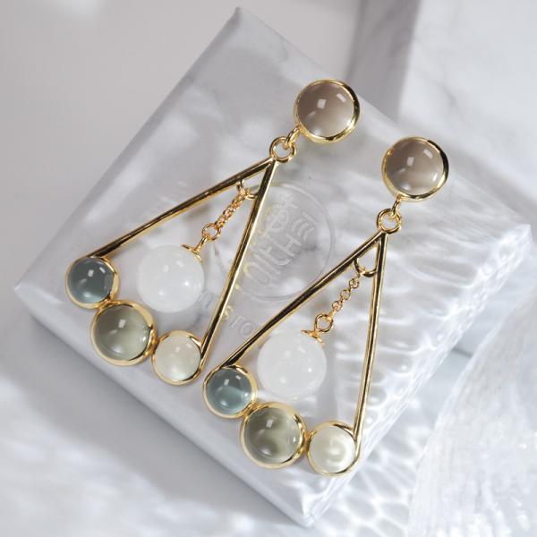 Fan - Hetian Jade Silver Earrings