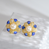 Online Earrings - Sun Flower - Chinese Filigree Enameling Pearl Ear Stud| LIGHT STONE