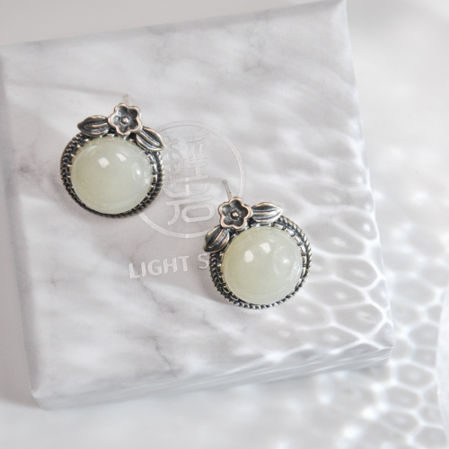White Jade Plum Flower Silver Ear Stud