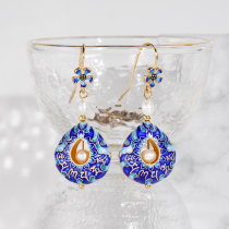 Mantra Sky Pearl Earrings - Burning Blue Silver Cloisoinne Enamel Earrings