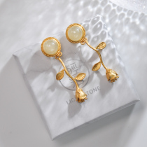 Gold Rose - Hetian Jade Gilt Silver Earrings