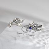 Best Online Earrings - Handmade Chinese  Lazurite Silver Ear Stud - Phoenix Feather| LIGHT STONE