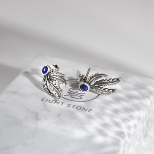 Phoenix Feather - Lazurite Silver Silver Ear Stud