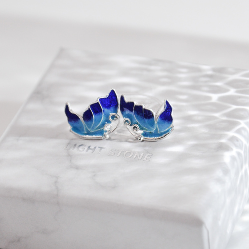 Butterfly - Burning Blue Cloisonné Silver Ear Stud