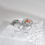 Best Online Earrings - Bat - Chinese Red Agate Silver Ear Stud | LIGHT STONE