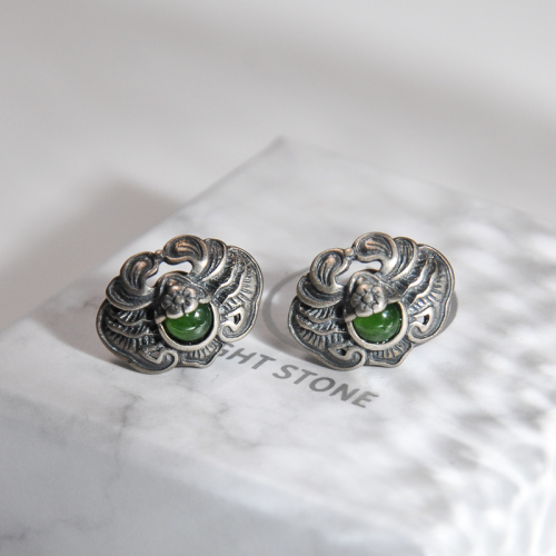 Bat - Old Silver Green Jade Ear Stud