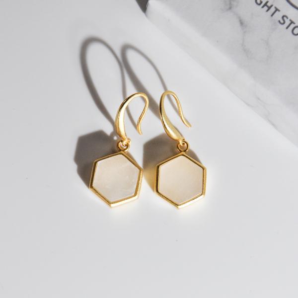 Hexagon - Rêve de Jade - Silver Earrings