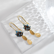 Lotus - Burning Blue Cloisonné Silver Earrings