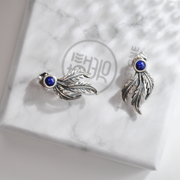 Phoenix Feather - Lazurite Silver Silver Ear Stud
