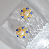 Online Earrings - Sun Flower - Chinese Filigree Enameling Pearl Ear Stud  LIGHT STONE
